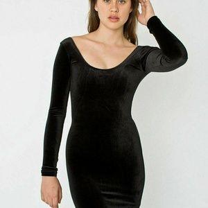 American Apparel Black Velvet Bodycon Mini Dress M